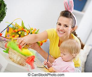 décoration, bébé, paques, confection, mère