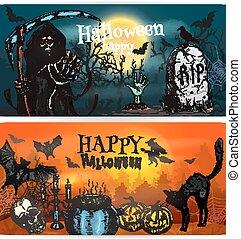 décoration, bannières, halloween, heureux