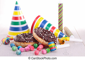 décoration, beignets, carnaval, chocolat