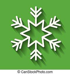 décoration, blanc, vert, flocon de neige, fond