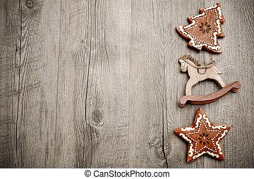 décoration, bois, noël, planche
