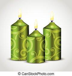 décoration, bougies, vert