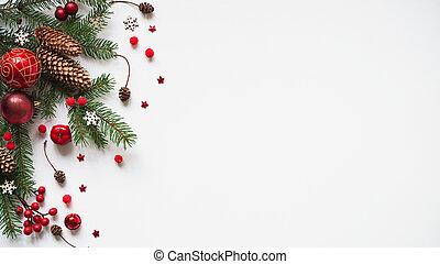 décoration, branches, composition, année, nouveau, texte, ou...