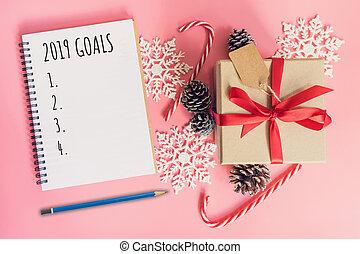 décoration, buts, année, nouveau, pastel, vue, 2019, sommet, cadeau, noël, color., rose, boîte, cahier, brun