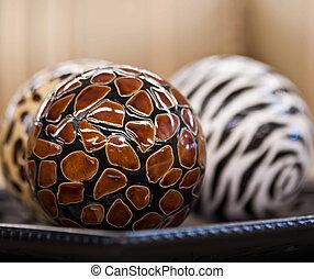décoration, céramique, balles, meubles