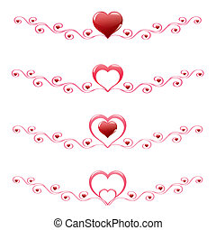décoration, cœurs, ensemble, rouges