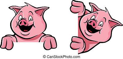 décoration, cadre, cochon