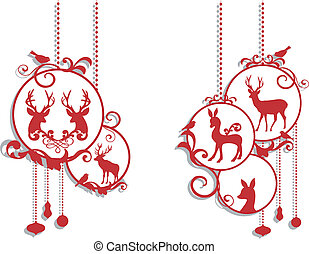 décoration, cerf, noël