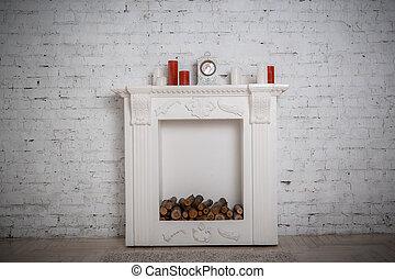 décoration, cheminée, salle