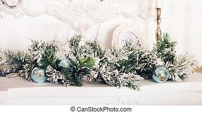 décoration, cheminée, salle, noël