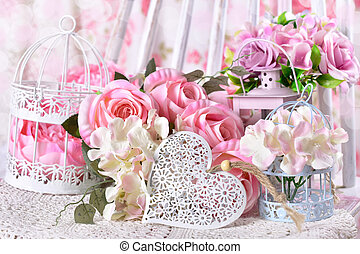 décoration, coeur, fleurs, amour, romantique