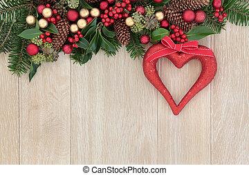 décoration, coeur, noël