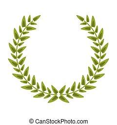 décoration, couronne laurier, emblème
