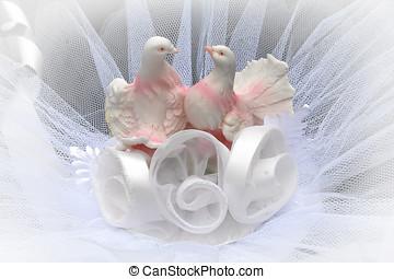 décoration, deux, colombes