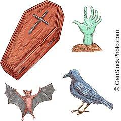 décoration, ensemble, halloween, éléments