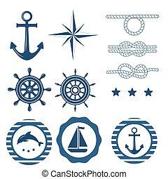 décoration, ensemble, nautique