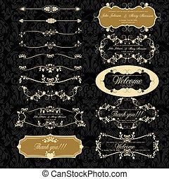 décoration, ensemble, retro, éléments, page