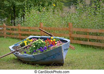 décoration, fleurs, bateau