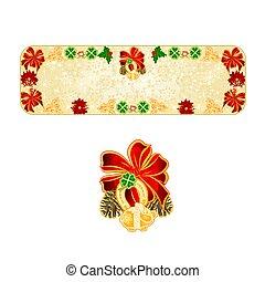décoration, flocons neige, chanceux, vector.eps, symboles, bannière, noël