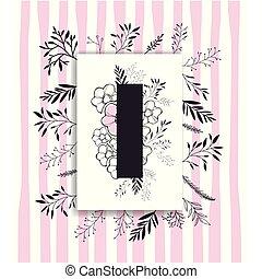 décoration, floral, police, fait main, lettre