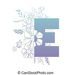 décoration florale, e, lettre