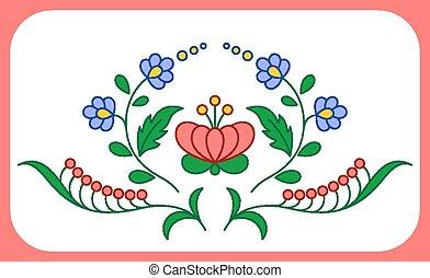 décoration florale, hongrois, broderie