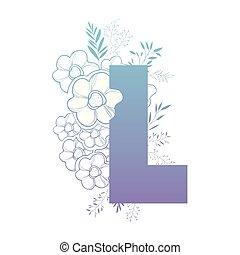décoration florale, l, lettre