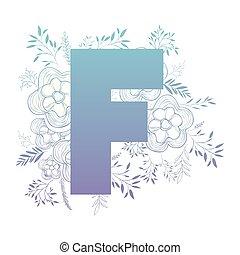 décoration florale, lettre f