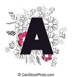 décoration florale, lettre