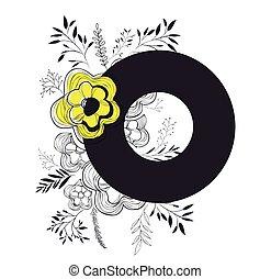 décoration florale, lettre, o