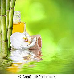 décoration, fonds, bambou, troncs, spa