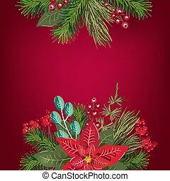 décoration, gabarit, carte, arbre, conception, sapin, vacances, joyeux, text., année, affiche, fête, salutation, noël, heureux, endroit, poinsetia, invitation, nouveau