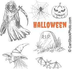 décoration, halloween, caractères, sketched