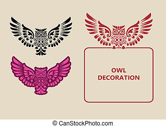 décoration, hibou, ornement