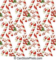 décoration, hiver, fête, bonbons, doux, menthe poivrée, noël, traditionnel, desserts, vecteur, nourriture, fait maison, rayé, vacances, célébration, noël, dish.