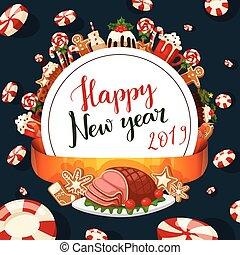 décoration, hiver, fête, nourriture, doux, célébration, noël, traditionnel, desserts, vecteur, 2019, fait maison, année, gâteau, nouveau, vacances, noël, dish.