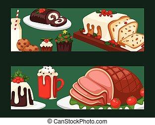 décoration, hiver, fête, nourriture, doux, célébration, noël, traditionnel, desserts, vecteur, fait maison, gâteau, vacances, bannière, noël, dish.