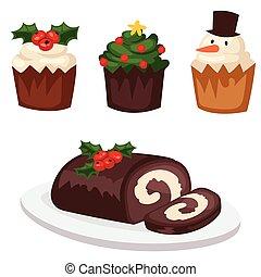 décoration, hiver, fête, nourriture, doux, célébration, noël, traditionnel, desserts, vecteur, fait maison, gâteau, vacances, noël, dish.