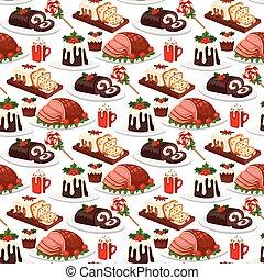 décoration, hiver, fête, nourriture, doux, seamless, noël, traditionnel, desserts, vecteur, arrière-plan., fait maison, modèle, plat, vacances, noël, gâteau, célébration