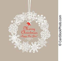 décoration, hiver, papier, flocons neige, fetes