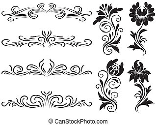 décoration, horizontal, éléments, vecteur