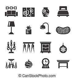 décoration, maison, icônes