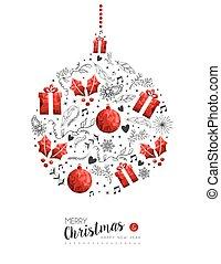 décoration noël, année, nouveau, babiole, rouges