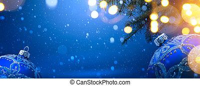 décoration, noël, fond, art, neige, bleu