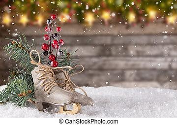 décoration noël, patins glace, sur, bois, fond