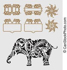 décoration, ornement, éléphant