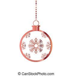 décoration, pendre, balle, noël, flocon de neige