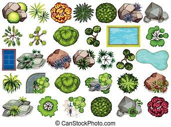 décoration, plante, ensemble