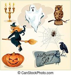 décoration, rigolote, éléments, halloween, terrifiant