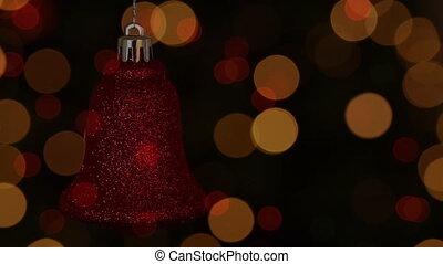 décoration, rouges, noël, cloche, noir, lumières, arrière-plan animation, scintiller